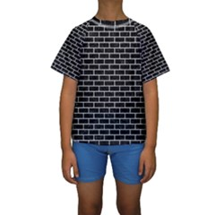 Brick1 Black Marble & White Leather (r) Kids  Short Sleeve Swimwear