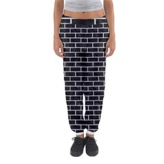 Brick1 Black Marble & White Leather (r) Women s Jogger Sweatpants
