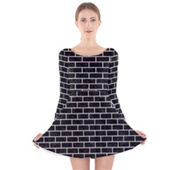Brick1 Black Marble & White Leather (r) Long Sleeve Velvet Skater Dress