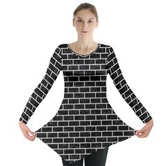 Brick1 Black Marble & White Leather (r) Long Sleeve Tunic