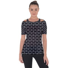 Brick1 Black Marble & White Leather (r) Short Sleeve Top