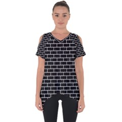 Brick1 Black Marble & White Leather (r) Cut Out Side Drop Tee