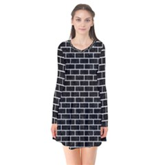 Brick1 Black Marble & White Leather (r) Flare Dress