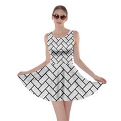 Brick2 Black Marble & White Leather Skater Dress