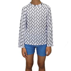 Brick2 Black Marble & White Leather Kids  Long Sleeve Swimwear