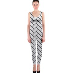 Brick2 Black Marble & White Leather Onepiece Catsuit
