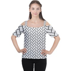 Brick2 Black Marble & White Leather Cutout Shoulder Tee