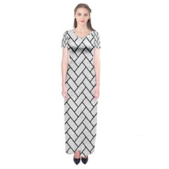 Brick2 Black Marble & White Leather Short Sleeve Maxi Dress