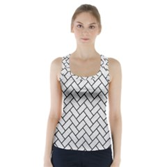 Brick2 Black Marble & White Leather Racer Back Sports Top