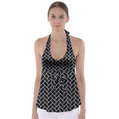 Brick2 Black Marble & White Leather (r) Babydoll Tankini Top