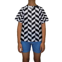 Chevron1 Black Marble & White Leather Kids  Short Sleeve Swimwear