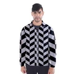 Chevron1 Black Marble & White Leather Wind Breaker (men)