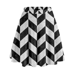 Chevron1 Black Marble & White Leather High Waist Skirt