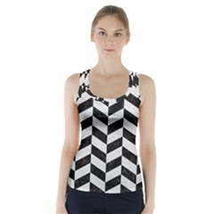 Chevron1 Black Marble & White Leather Racer Back Sports Top