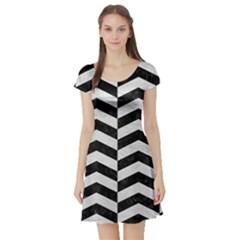 Chevron2 Black Marble & White Leather Short Sleeve Skater Dress