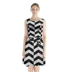Chevron2 Black Marble & White Leather Sleeveless Waist Tie Chiffon Dress