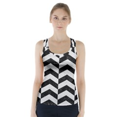 Chevron2 Black Marble & White Leather Racer Back Sports Top