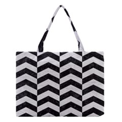 Chevron2 Black Marble & White Leather Medium Tote Bag