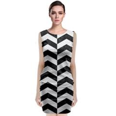 Chevron2 Black Marble & White Leather Sleeveless Velvet Midi Dress