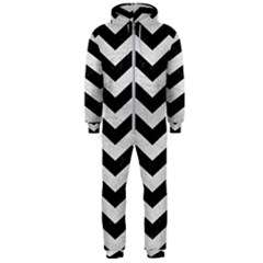 Chevron3 Black Marble & White Leather Hooded Jumpsuit (men)