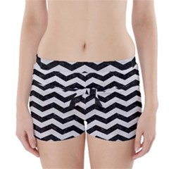 Chevron3 Black Marble & White Leather Boyleg Bikini Wrap Bottoms