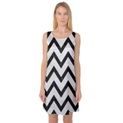 Chevron9 Black Marble & White Leather Sleeveless Satin Nightdress
