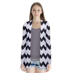 Chevron9 Black Marble & White Leather Drape Collar Cardigan
