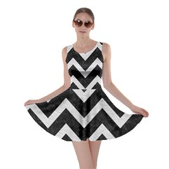 Chevron9 Black Marble & White Leather (r) Skater Dress