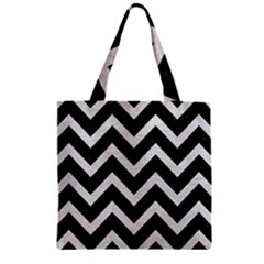 Chevron9 Black Marble & White Leather (r) Zipper Grocery Tote Bag