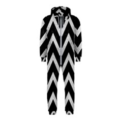 Chevron9 Black Marble & White Leather (r) Hooded Jumpsuit (kids)