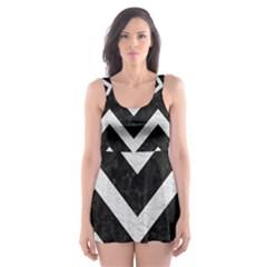 Chevron9 Black Marble & White Leather (r) Skater Dress Swimsuit