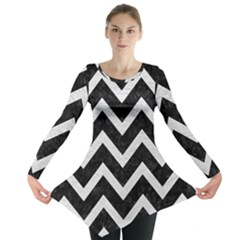 Chevron9 Black Marble & White Leather (r) Long Sleeve Tunic