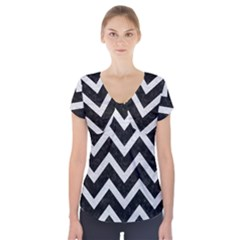 Chevron9 Black Marble & White Leather (r) Short Sleeve Front Detail Top