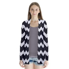 Chevron9 Black Marble & White Leather (r) Drape Collar Cardigan