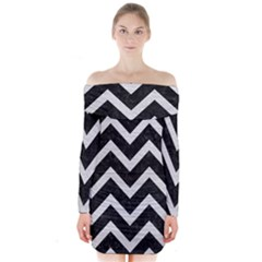 Chevron9 Black Marble & White Leather (r) Long Sleeve Off Shoulder Dress