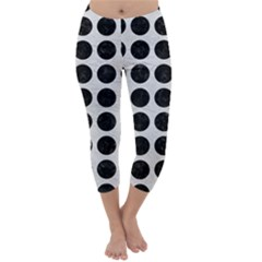 Circles1 Black Marble & White Leather Capri Winter Leggings