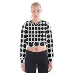 Circles1 Black Marble & White Leather Cropped Sweatshirt