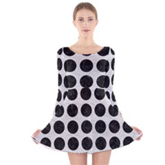 Circles1 Black Marble & White Leather Long Sleeve Velvet Skater Dress
