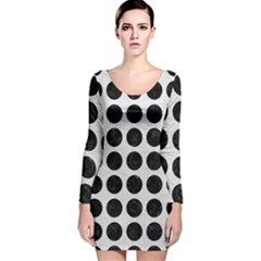 Circles1 Black Marble & White Leather Long Sleeve Velvet Bodycon Dress
