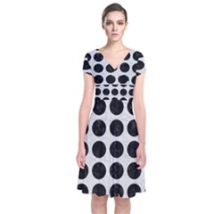 Circles1 Black Marble & White Leather Short Sleeve Front Wrap Dress