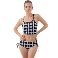 Circles1 Black Marble & White Leather Mini Tank Bikini Set