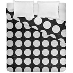 Circles1 Black Marble & White Leather (r) Duvet Cover Double Side (california King Size)