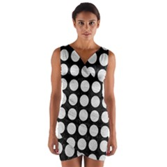 Circles1 Black Marble & White Leather (r) Wrap Front Bodycon Dress