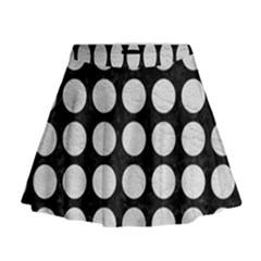 Circles1 Black Marble & White Leather (r) Mini Flare Skirt