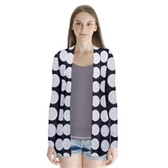 Circles1 Black Marble & White Leather (r) Drape Collar Cardigan