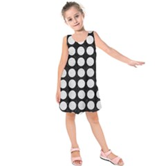 Circles1 Black Marble & White Leather (r) Kids  Sleeveless Dress