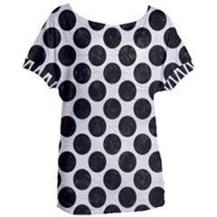 Circles2 Black Marble & White Leather Women s Oversized Tee