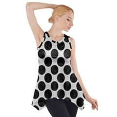 Circles2 Black Marble & White Leather Side Drop Tank Tunic