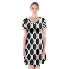 Circles2 Black Marble & White Leather Short Sleeve V Neck Flare Dress