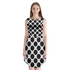 Circles2 Black Marble & White Leather Sleeveless Chiffon Dress